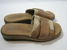 Sesto Meucci Tan Brown Stretch Leather US Sz 8 C Comfort Sandals Slide On Italy