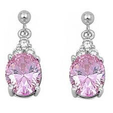 DANGLING OVAL PINK & CZ .925 Sterling Silver Earrings