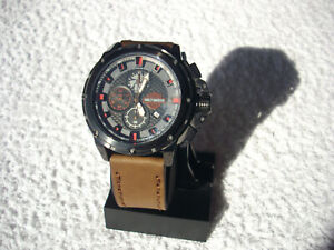 HARLEY-DAVIDSON  MENS WATCH , BC-165046ST, CHRONO,LEATHER STRAP