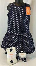 NWT Gymboree Charm Class Girl 4 Navy Polka Dot Dress Set Outfit Tights Clip $60