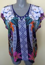 Ladies Womens Casual Cap Sleeve Blouse Shirt Top Print Viscose Rockmans Size 20