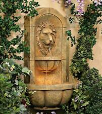 """Roman Outdoor Wall Water Fountain with Light LED 29 1/2"""" Lion Head Garden Home"""