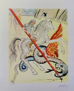 """Salvador Dali ST GEORGE DRAGON Facsimile Signed & Numbered Giclee Art 17"""" x 13"""""""
