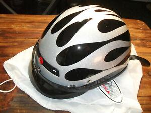 Vega XTS  Fiberglass Dot Half Helmet Size XXL Silver Flame On Black NEW