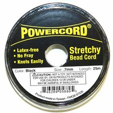 wc230f Powercord Black 0.7mm Elastic Jewelry & Beading Stretch Cord 25-Meter