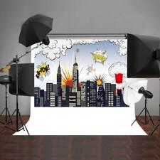 Photo Background Super Hero City Vinyl Children Photography Props Backdrop 7x5FT