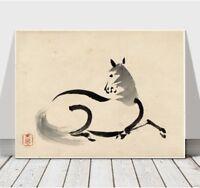 "Japanese UNA - Horse - CANVAS ART PRINT POSTER - 16x12"""