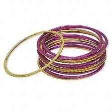 Fuchsia Pink & Gold, 12 Qty 1585Ju Bracelet Mix Set, Bangle, Anodized Aluminum,