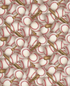 Elizabeths Studio  White Sports Packed Baseballs  112-WHT BTY fabric