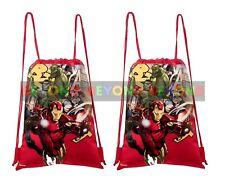 2 PACK Avengers Assemble Drawstring Backpack School Lunch Bag Back Pack NEW
