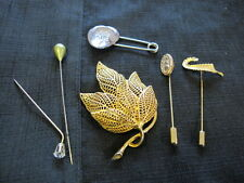 HAT PINS STICK PINS  DIAPER SAFETY  PIN SCROLL LOT LEAF BROOCH LOT OF 6