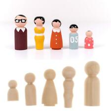 100x Blank Wood Peg Dolls Family Figures Wedding Cake Toppers DIY Craft Toys