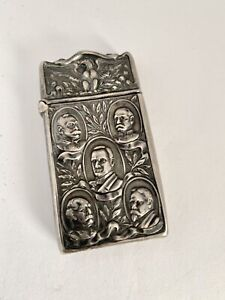 Antique MAUSER MATCH SAFE 4102 Sterling Silver MC KINLEY, DEWEY, SIGABEE, MILES