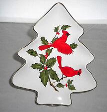 Lefton China Christmas Tree Candy Dish Cardinals Mistletoe