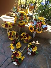 bridal bouquet decorations sunflowers burgundy wine red wedding pkg add color