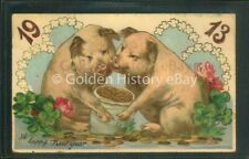 HAPPY NEW YEAR 1913 PIGS VERY RARE CARD GERMANY ANIMAL PICTURE POSTCARD