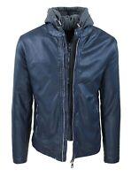 Giubbotto ecopelle Biker uomo blu slim fit giacca giubbino con cappuccio felpa