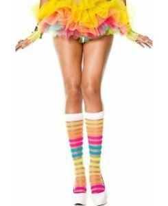Rainbow Sheer Stripes Knee High Socks - Music Legs 5526