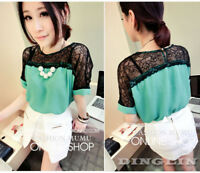 Casual Women Summer T-Shirt Blouse Chiffon Top Korean Tee Lace Mesh Patchwork