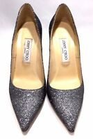 JIMMY CHOO SPARKLE GRAY 'ABEL' POINTED PUMPS, 38, $765