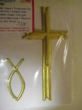 Wachsdekor Kreuz + Christlicher Fisch gold 90x45mm/40x15mm
