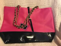 Juicy Couture Glam Weekender Tote Bag Pink Black Patent Leather Gold Chain Purse