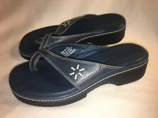 Clarks Womens Size 6 M  Sandals Navy Blue Leather Slip On Wedge Slides Shoes