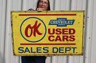 "Large Vintage Chevrolet OK Used Cars Sales Department Gas Oil 36"" Metal Sign"