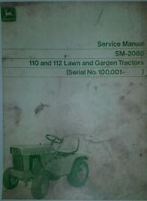 John Deere 110 112 Lawn Garden Tractor Overhaul Service Manual Riding 100,000-up