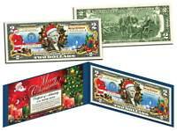 MERRY CHRISTMAS Colorized $2 Bill U.S. Legal Tender SANTA SLEIGH Jingle Bucks