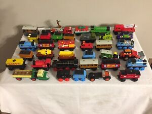 Large Lot of 36 Thomas Trains Wooden Railway Engines & Cars