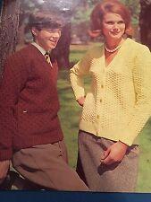 "Knitting Pattern Women Ladies Men's  Cardigan Jumper DK 35-47"" Vintage"