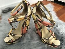 eb0250455 Rachel Zoe Katia Leather Python Snakeskin Wedge High Heel Sandals Sz 9  395
