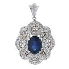 White Gold Sapphire & Diamond Lace Halo Pendant - 14k Oval Cut 2.03ctw Milgrain