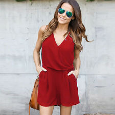 Summer Women Beach Sleeveless Chiffon Jumpsuit Ladies Party Short Mini Dress L*