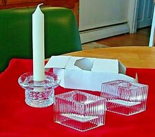 Lot- Candlestick Holders, 2 Avon Crystal, 1 Weighted Glass, 1 Candle w/ Braided
