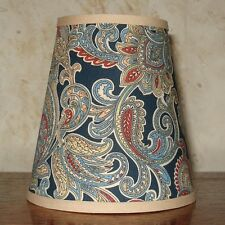 Navy Paisley  - Small Handmade Candle Clip Lampshade for Wall Lights/Chandeliers