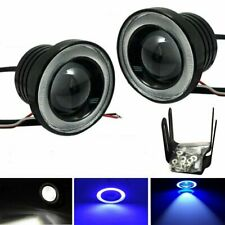 "Pair 2.5"" Cob Led Fog Light Projector Lamp w/ Blue Halo Angle Eyes Ring Bulb Drl (Fits: Neon)"