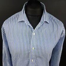 Tommy Hilfiger Mens THICK Shirt 17.5 34-35 (XL) Long Sleeve Blue Regular Striped