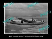 OLD 8x6 HISTORICAL PHOTO OF RAAF AIR FORCE B-24 LIBERATOR AEROPLANE c1940s