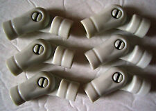 Plastic Tinker Toys Parts Lot: 6 White Elbow Hinges Angle Connector Pieces Wood