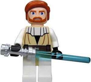 Lego Star Wars Minifig Obi Wan Kenobi Clone Wars & Lightsaber 7676  7753 *New*