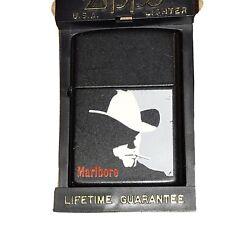 Vintage Zippo 1992 Marlboro Man Cowboy White Hat Black Lighter Matte Finish