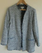 PURE COLLECTION Tweed Boucle Jacket Blue White Longline Edge to Edge Size 14