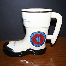 1980 WISCONSIN FIRE CHIEFS ASSN. CERAMIC BOOT COFFEE MUG Milwaukee FIREFIGHTERS