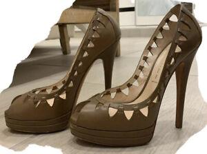 Casadei Beige Open Toe Heels (one Heel Chipped)