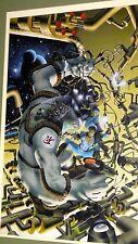 COMIC BOOK ART ORIGINAL AIR BRUSH PAINTING LARSEN FASTNER SCIENCE FICTION SPACE