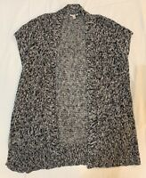 Eileen Fisher M Cardigan Sweater Black White Open Front Short Dolman Sleeves