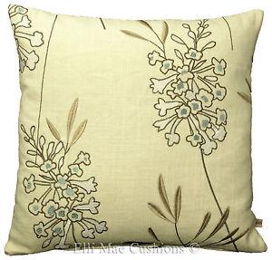 Clarke & Clarke Foxglove Aqua Embroidered Floral Designer Cushion Pillow Cover
