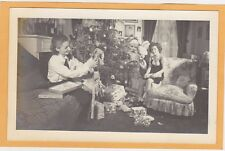 Real Photo Postcard - Mother Daughter Santa Claus and Doll with Christmas Tree